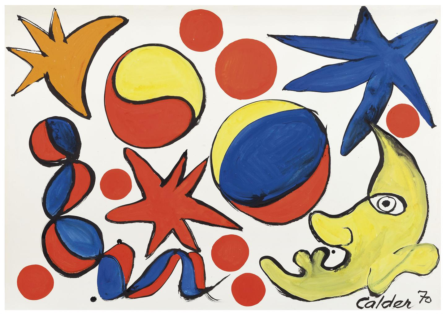 Alexander Calder-Yellow Moon Face-1970