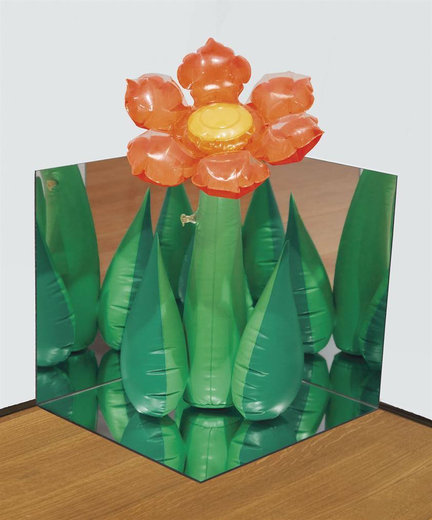 Jeff Koons-Inflatable Flower (Tall Orange) Corner-1979