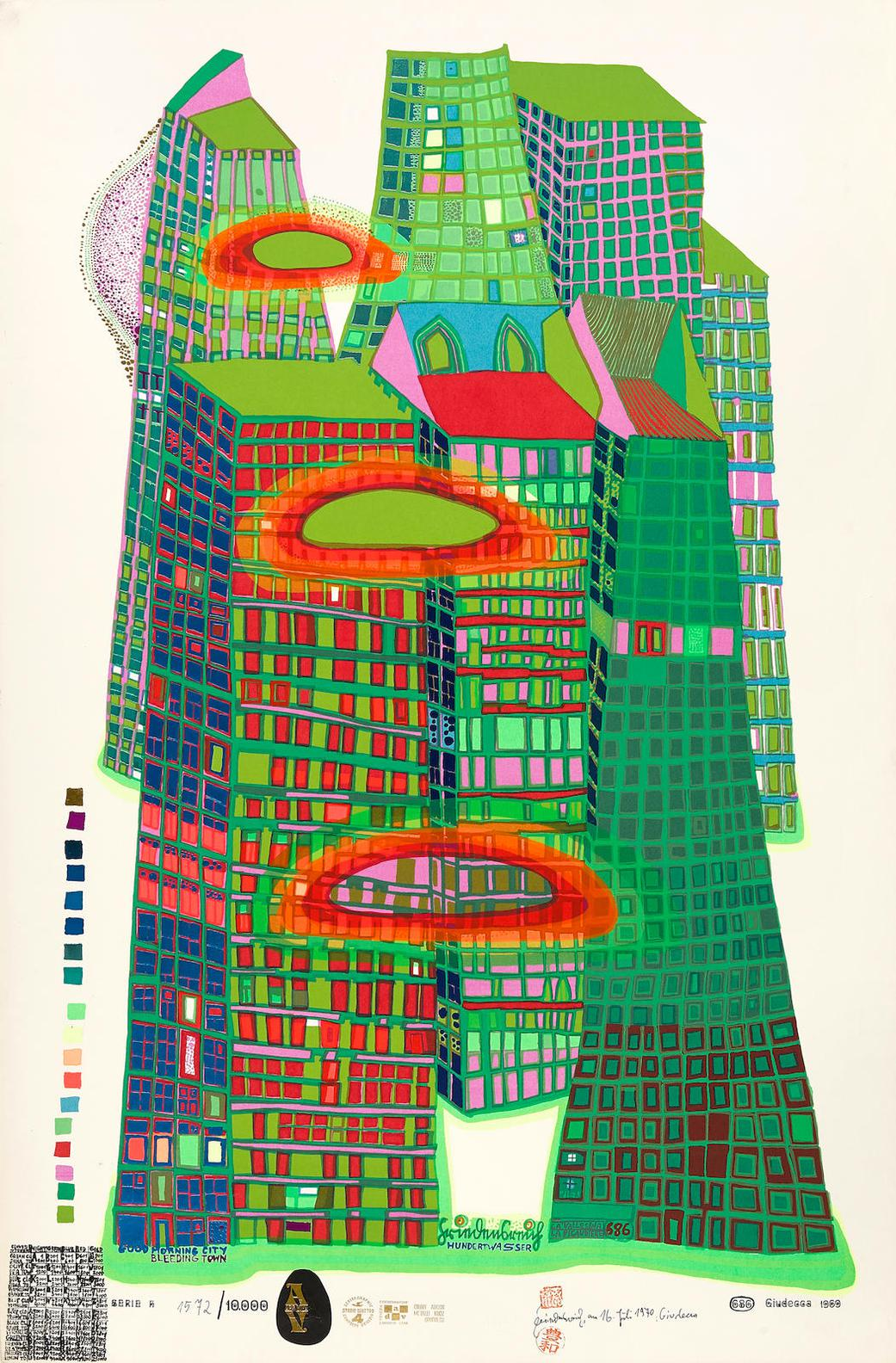 Friedensreich Hundertwasser-Good Morning City-Bleeding Town (K. 42)-1971