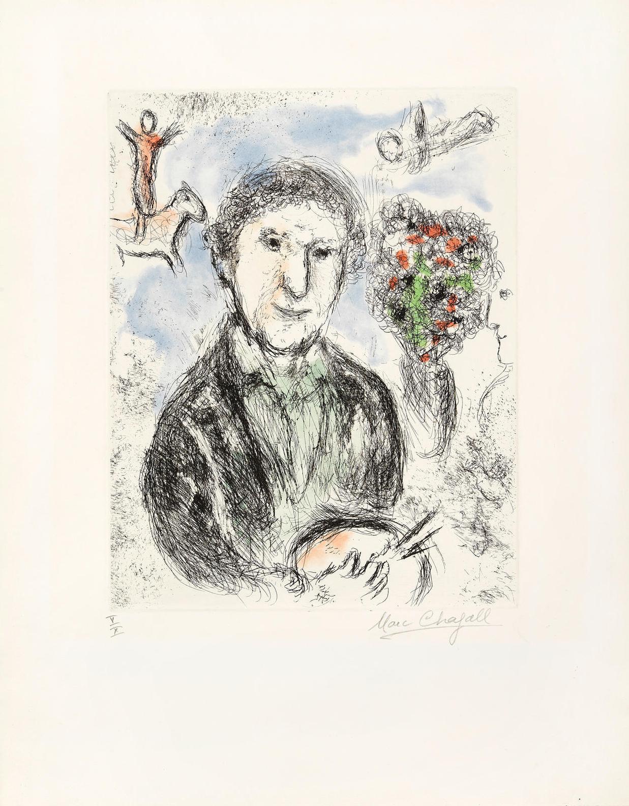 Marc Chagall-Auto Portrait Au Bouquet, From Songes (C. 112)-1981
