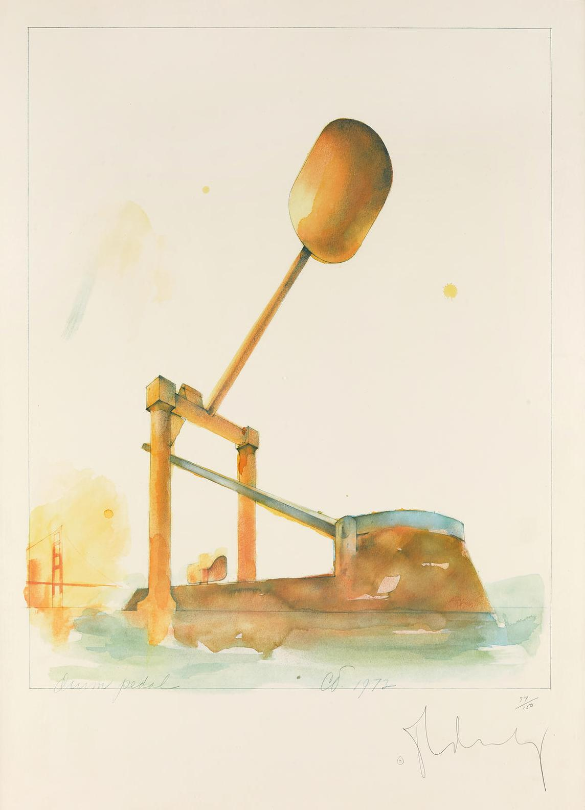Claes Oldenburg-Proposed Colossal Monument For Alcatraz Island, San Francisco, In The Form Of A Colossal Drum Pedal, #2 (A.&P.; 112)-1973