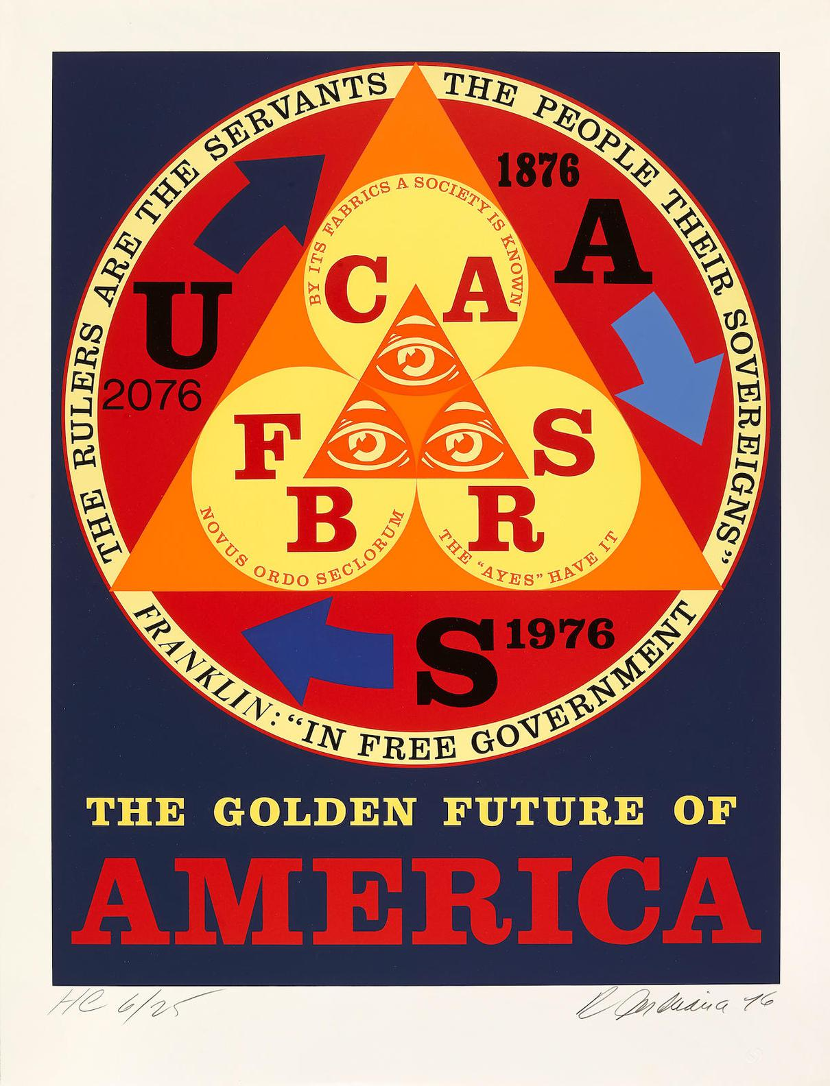 Robert Indiana-Golden Future Of America, From American Portrait 1776-1976 Bicentennial Portfolio (S. 92)-1976