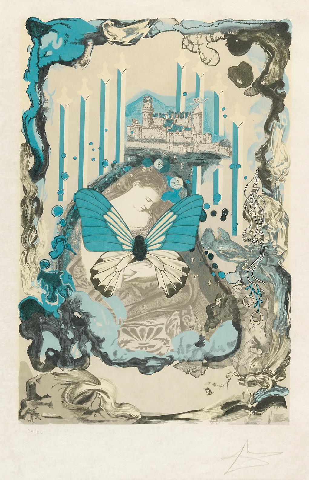 Salvador Dali-Papillons Anciennes (F. 77 1A-D)-1976