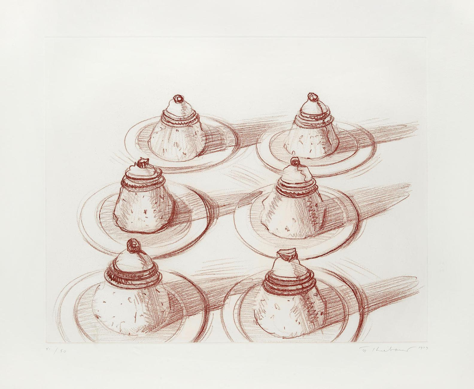 Wayne Thiebaud-Six Italian Desserts, From Recent Etchings II-1979