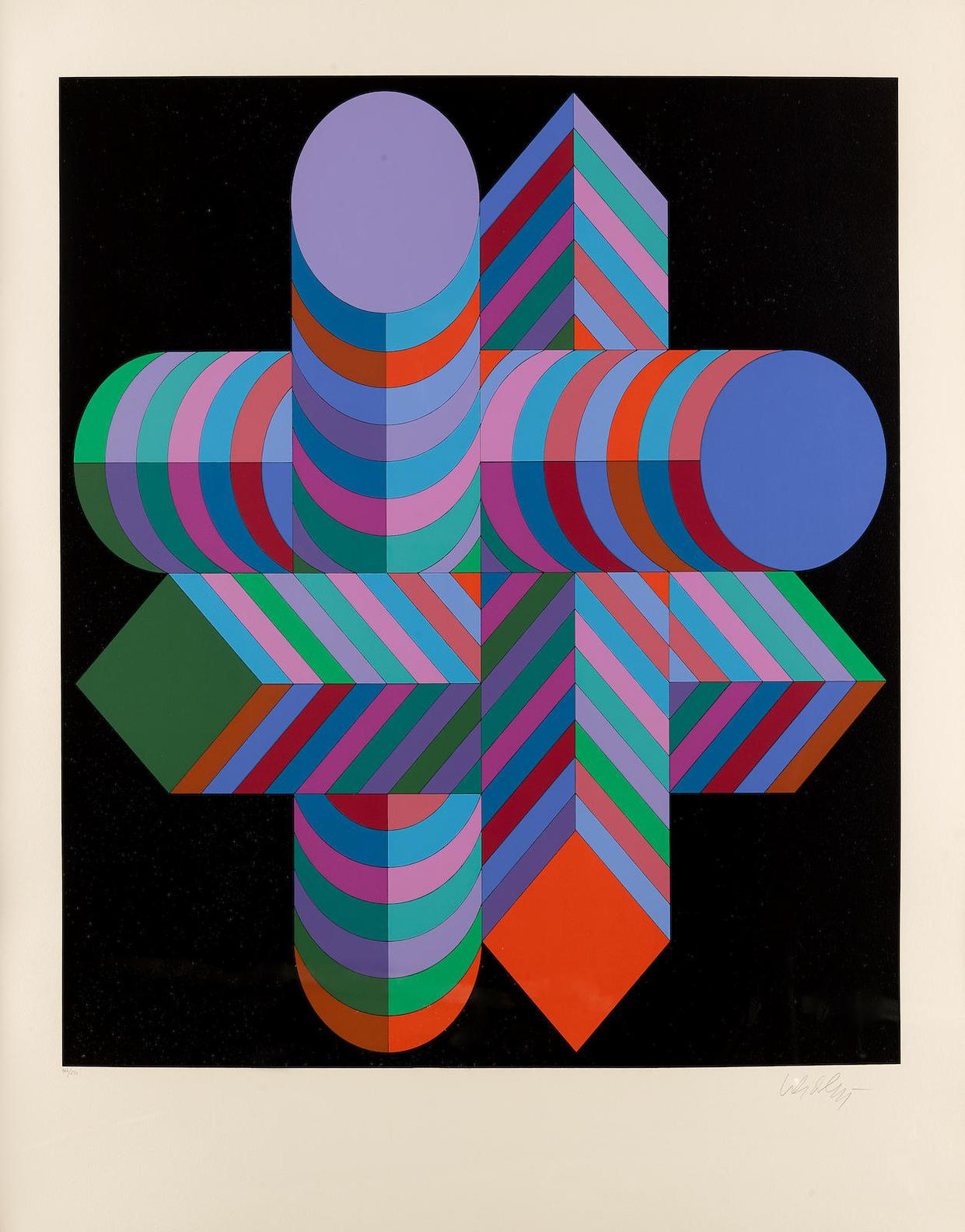 Victor Vasarely-A Group Of Four Prints, 1968-1988 (MAKK-S, 1978 Kaaba II, 1988 VY-29-H, from Album Xico, 1973 Untitled, from Permutation, 1968)-1988