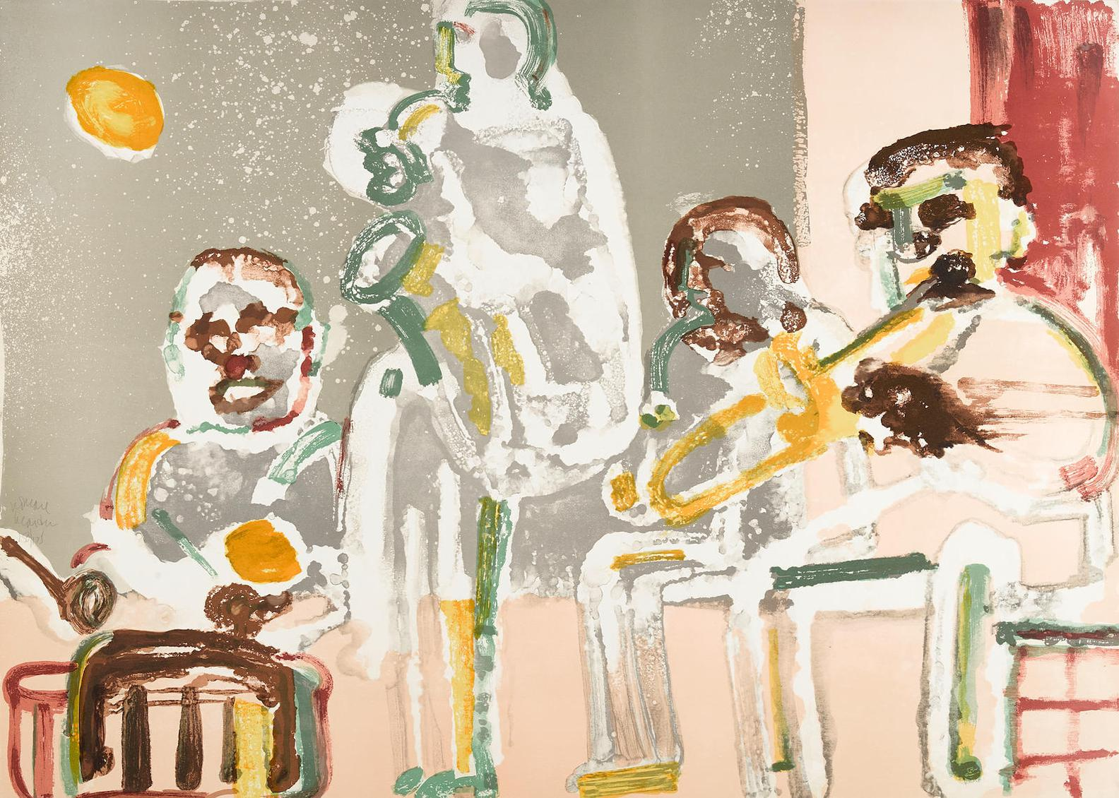 Romare Bearden-Tenor Sermon; Introduction For A Blues Queen...,From Jazz Series (G. & R. 27, 23)-1979