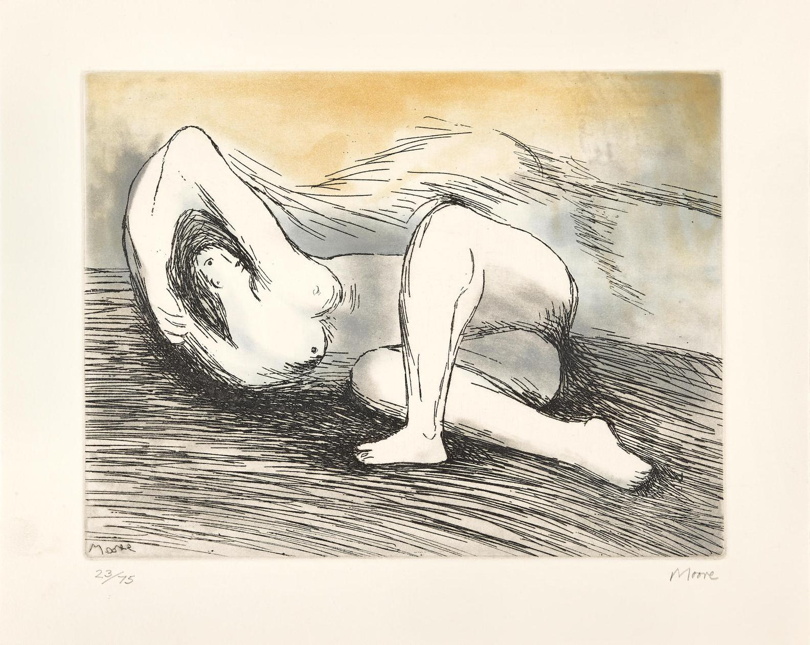 Henry Moore-One Plate From Sketchbook, The West Wind Relief (C. 573)-1980