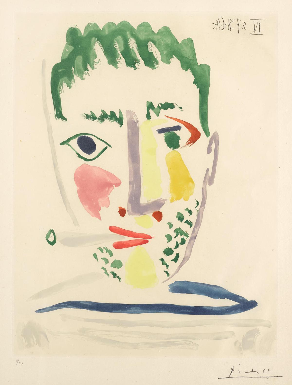 Pablo Picasso-Fumeur Au Maillot Raye Grise (B. 1172)-1964