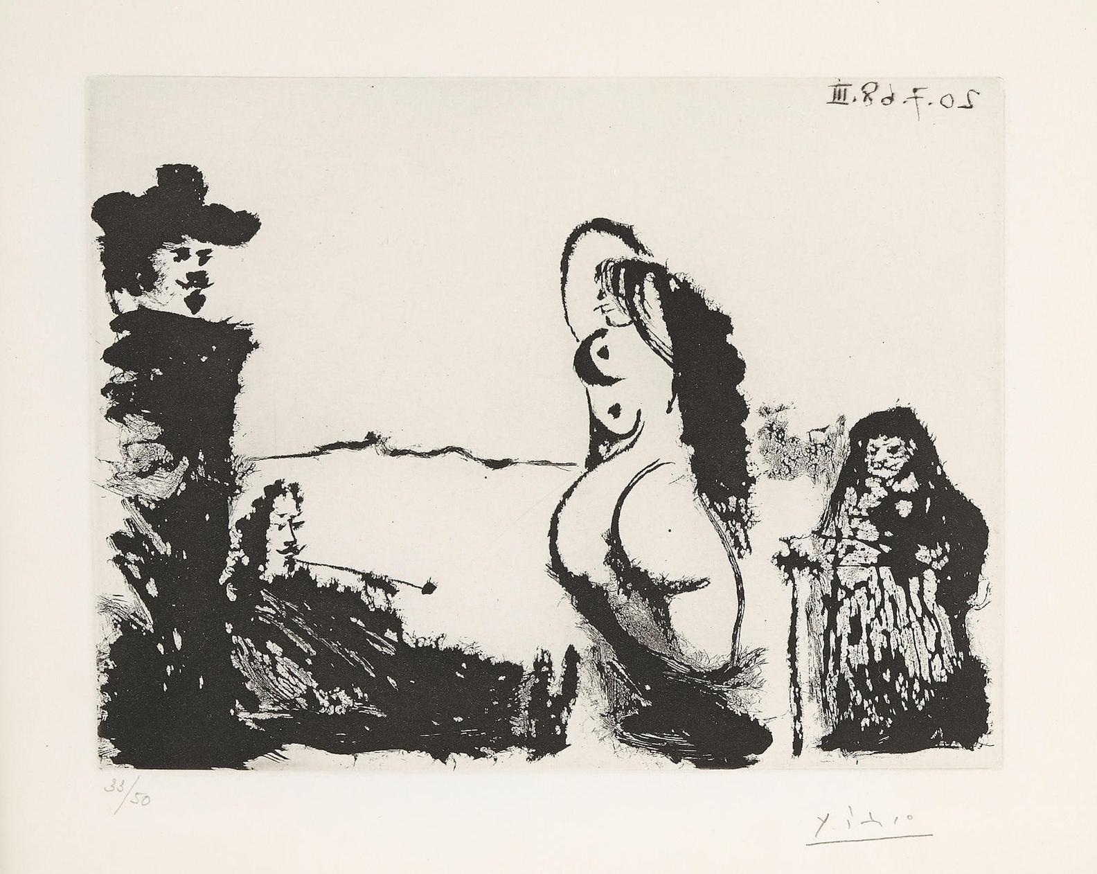 Pablo Picasso-Un Dejeuner Sur Lherbe Rembranesque, Avec Maja Et Celestine, Pl. 211, From La Serie 347 (B. 1689), 1968-1968