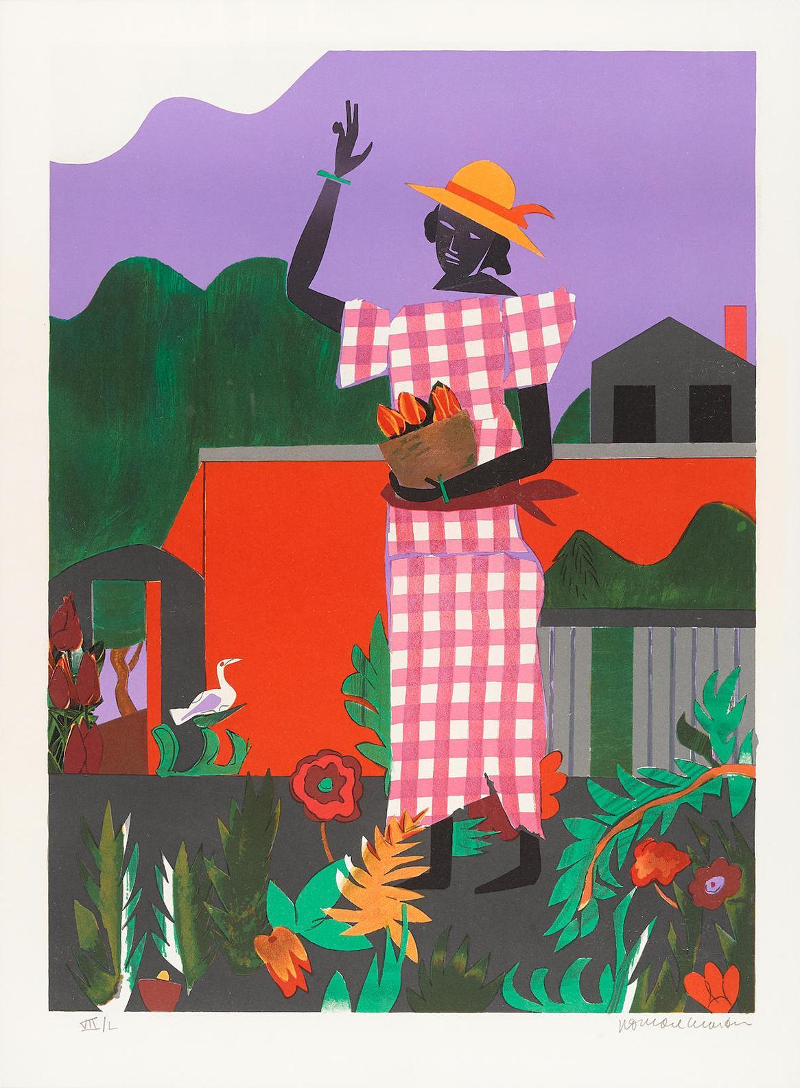 Romare Bearden-Girl In The Garden (G. & R. 61)-1979
