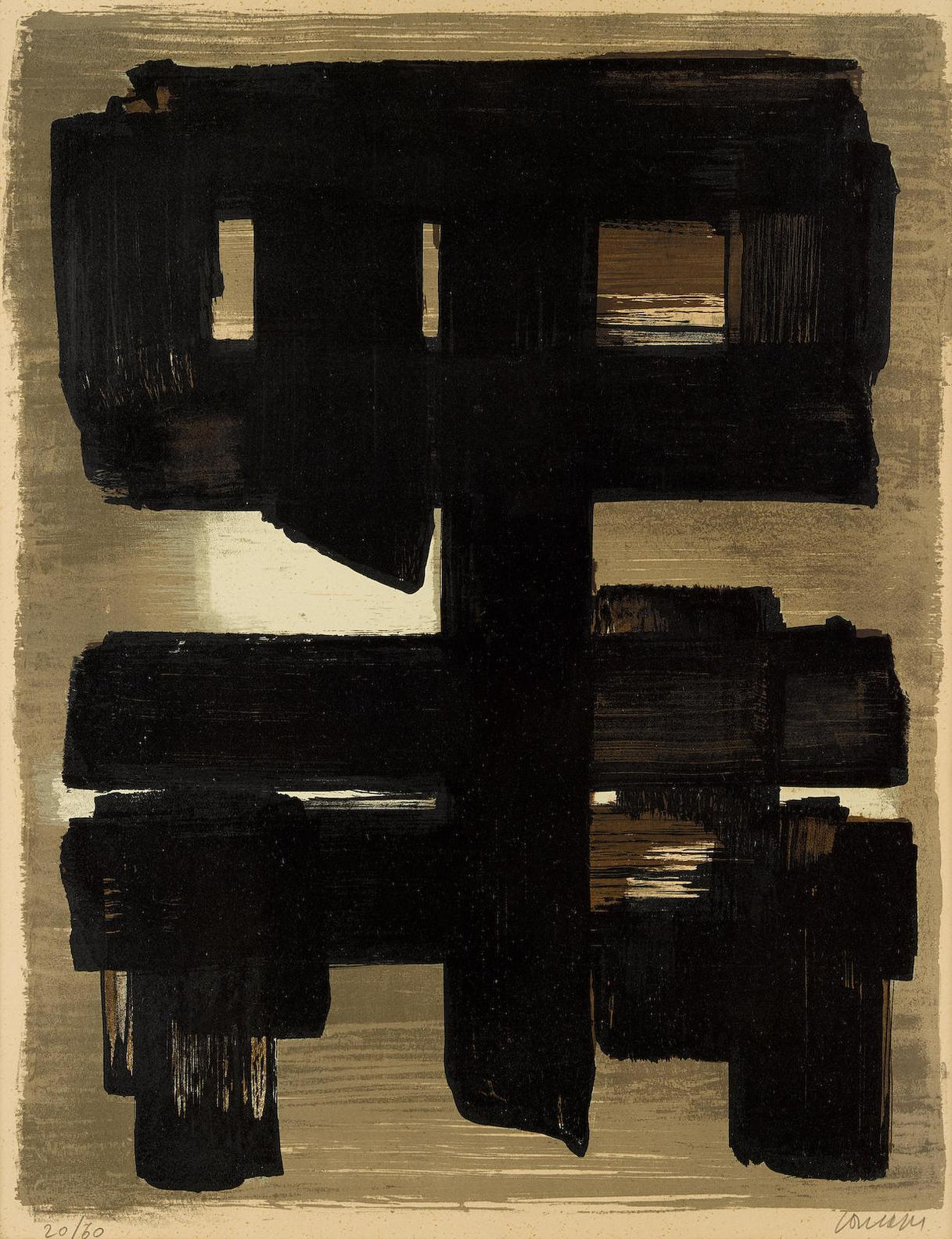 Pierre Soulages-Lithographie No. 1 (H. 1)-1957