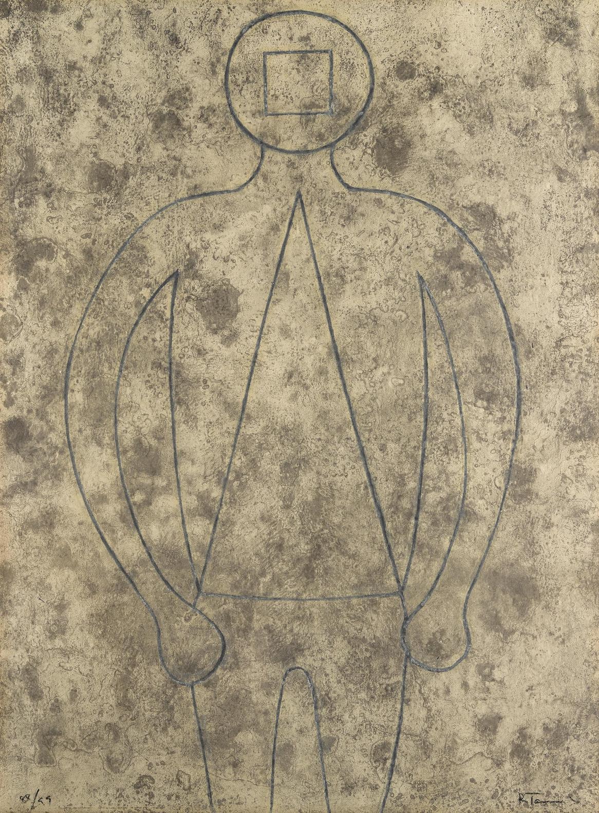 Rufino Tamayo-Figura De Hombre En Azul Con Fondo Gris, From Rufino Tamayo 15 Aguafuertes (P. 251)-1979
