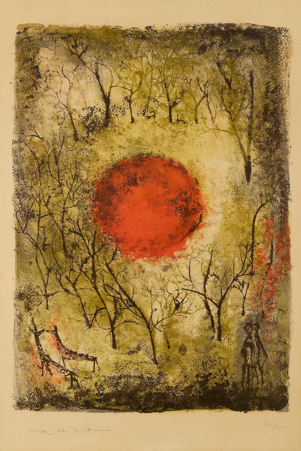 Zao Wou-Ki-Le Soleil Rouge (A. 41)-1950