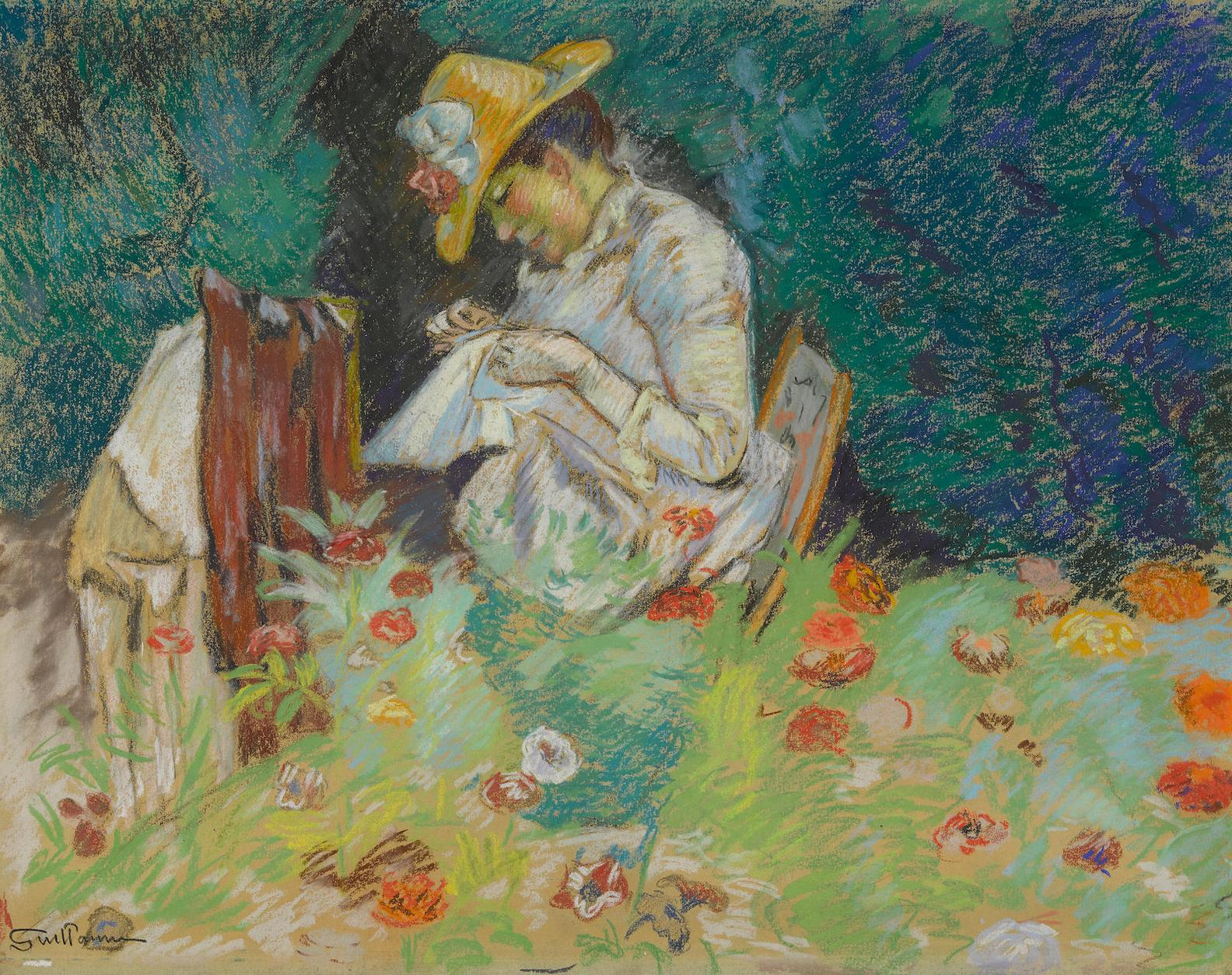 Jean-Baptiste Armand Guillaumin-La Couseuse (Jardin A Epinay)-1886