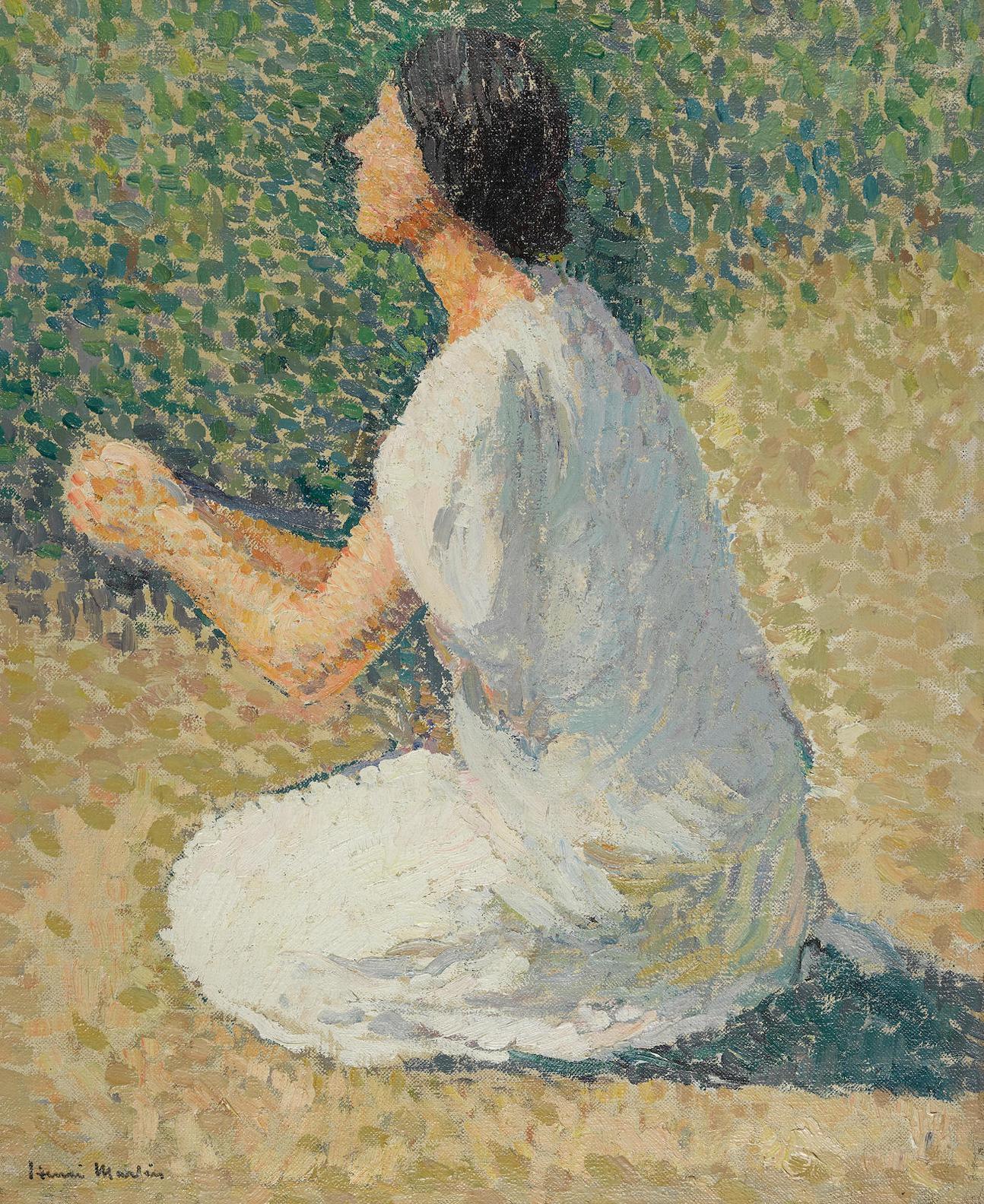 Henri-Jean Guillaume Martin - Jeune Femme Agenouillee, Etude Pour Le Triptyque Apollon Et Les Muses-1900