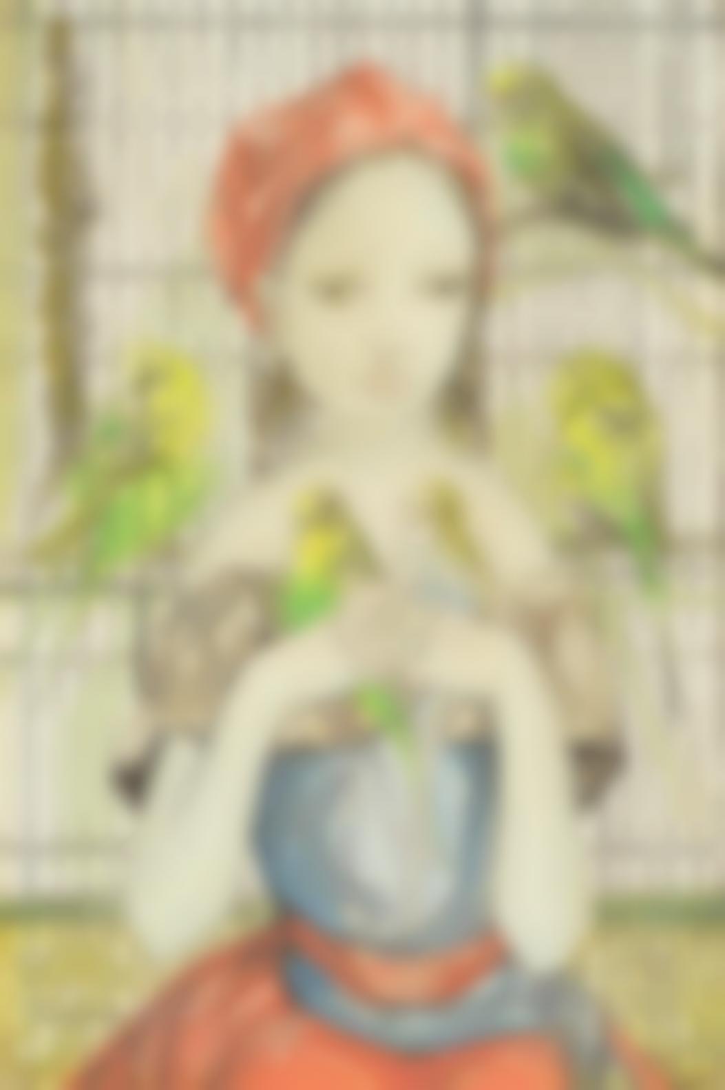 Tsuguharu Foujita-Fillette Aux Perruches-1956