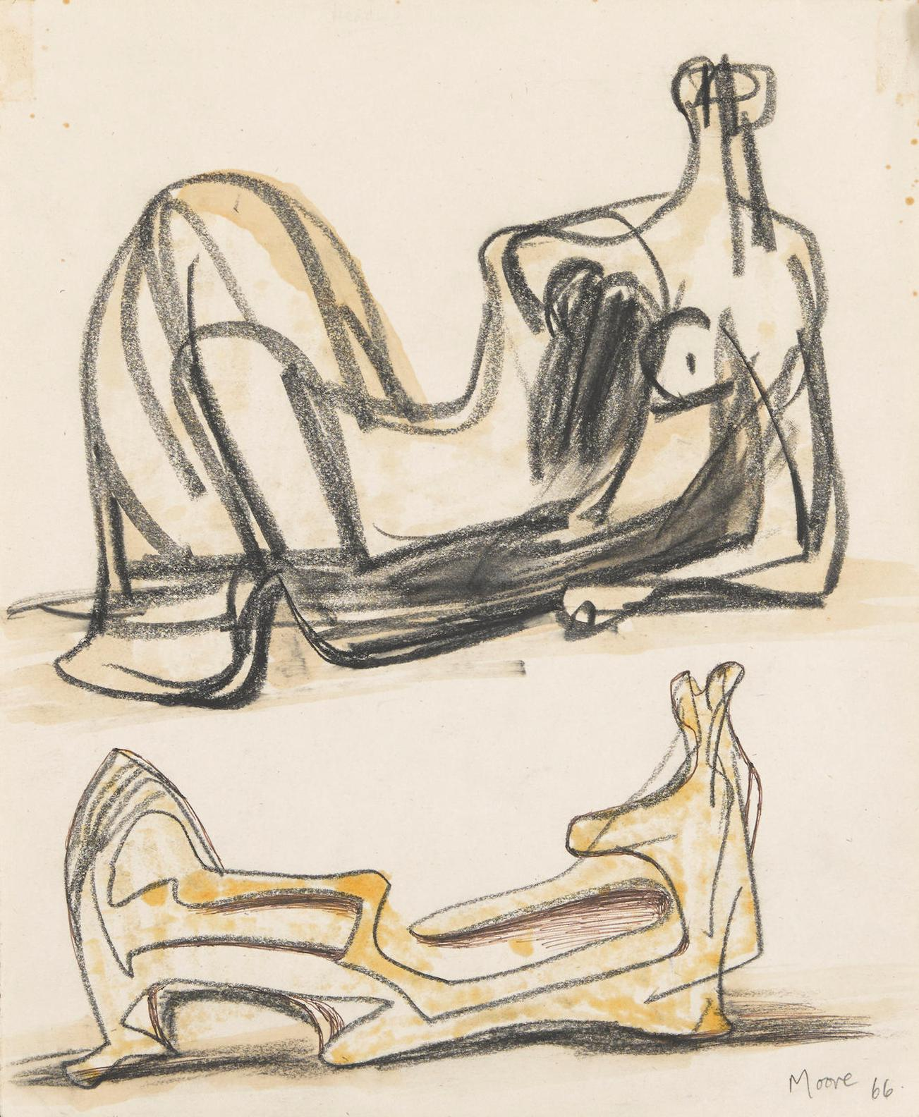 Henry Moore-Two Reclining Figures-1966