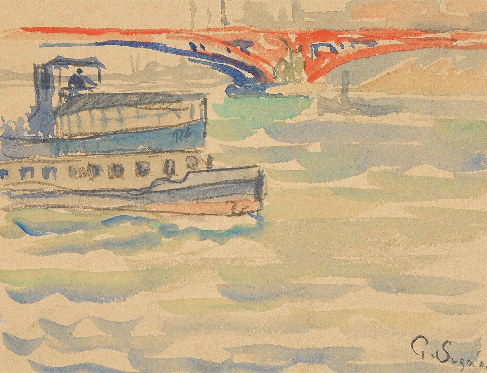 Paul Signac-Scene De Bateaux-