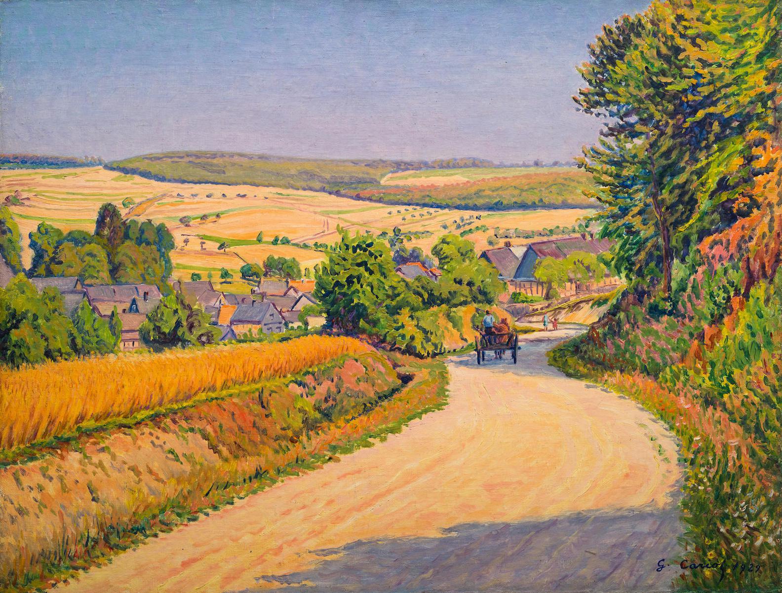 Gustave Cariot-Charrette Sur Le Chemin Fleuri-1929