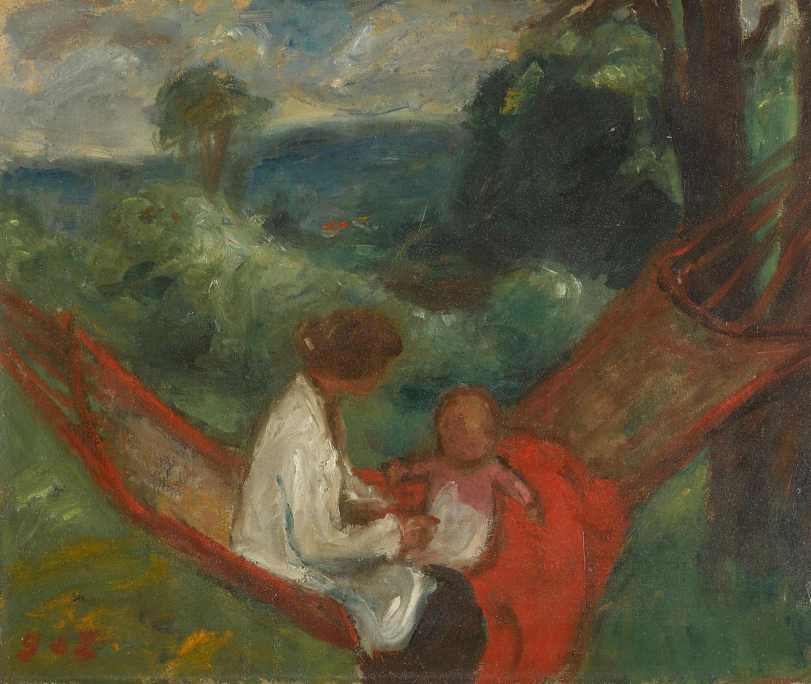 Georges D' Espagnat - Femme Et Enfant Dans Un Hamac-