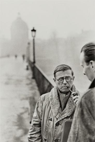 Henri Cartier-Bresson-Jean-Paul Sartre, Le Pont Des Arts, Paris-1946