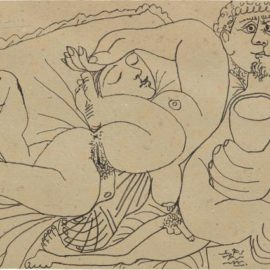 Pablo Picasso-Nu Couche Et Homme Ecrivant (Sleeping Nude And Man Writing)-1969