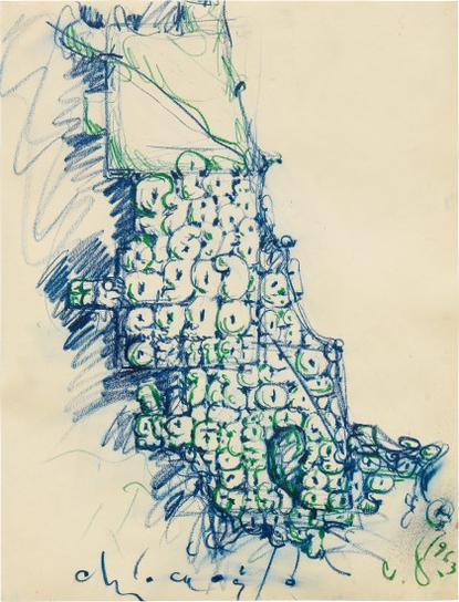 Claes Oldenburg-Map Of Chicago Stuffed With Soft Numbers-1963