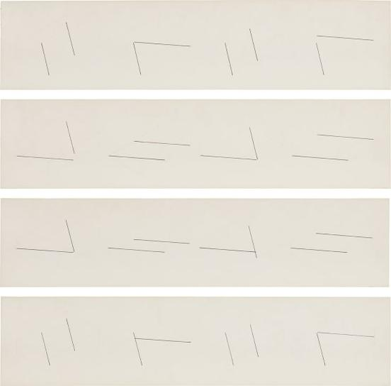 Fred Sandback-Untitled (4 Drawings For 16 Two-Part Pieces For The John Weber Gallery)-1975