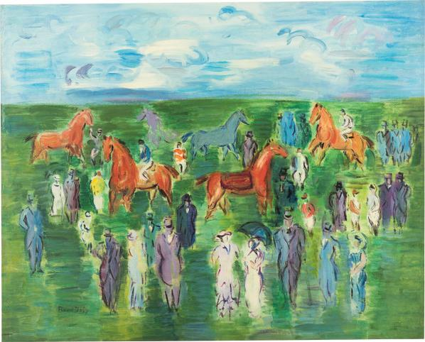 Raoul Dufy-Chevaux, Jockeys Et Elegantes-1950