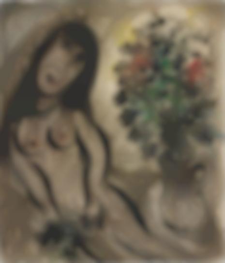 Marc Chagall-Femme Et Vase De Fleurs-1953