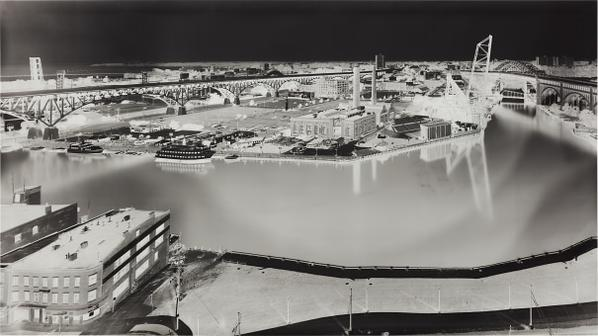 Vera Lutter-View Of Cleveland Flats (V Crittenden Court Apartments, 955 W. St. Clair Ave., 18Th Floor, July 6, 1997)-1997