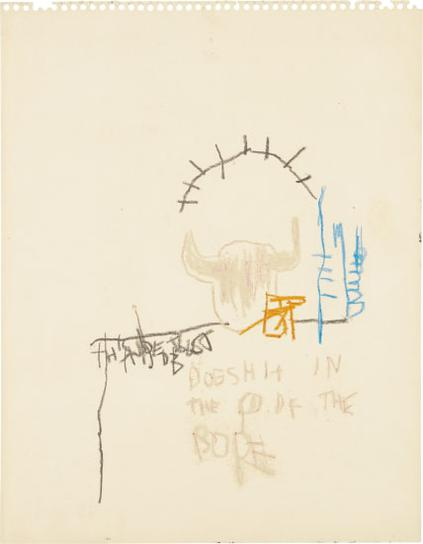 Jean-Michel Basquiat-Dog Shit In The Head Of The Pope-1981
