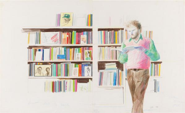 David Hockney-Ron Kitaj Reading-1974