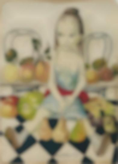 Tsuguharu Foujita-Fillette Aux Fruits Et Au Damier-1958