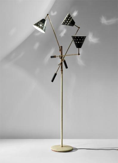 Angelo Lelii - Rare Triennale Three-Armed Adjustable Standard Lamp, Model No. 12128S-1951