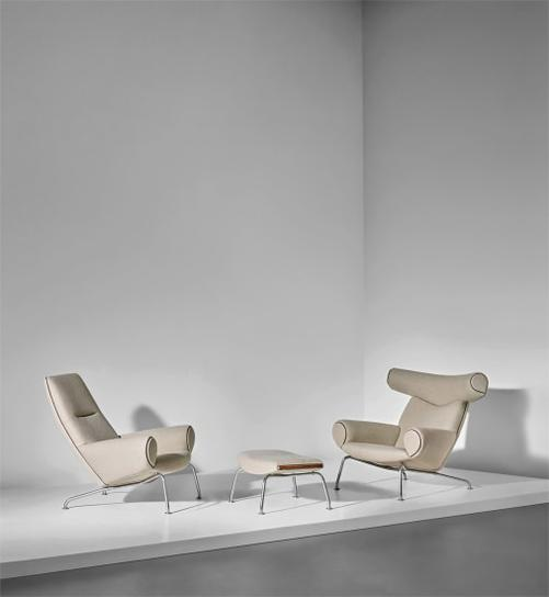 Hans J. Wegner-Two Early Ox Lounge Armchairs, Model Nos. Ap-46 And Ap-47, And Ottoman, Model No. Ap-49-1960