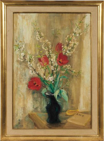 Le Pho-Les Tulipes Rouges Et Les Fleurs De Pommier (Red Tulips And Apple Blossoms)-
