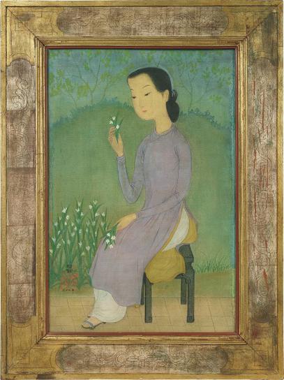 Mai Trung Thu-Jeune Femme A La Fleur (Young Lady With A Flower)-1954