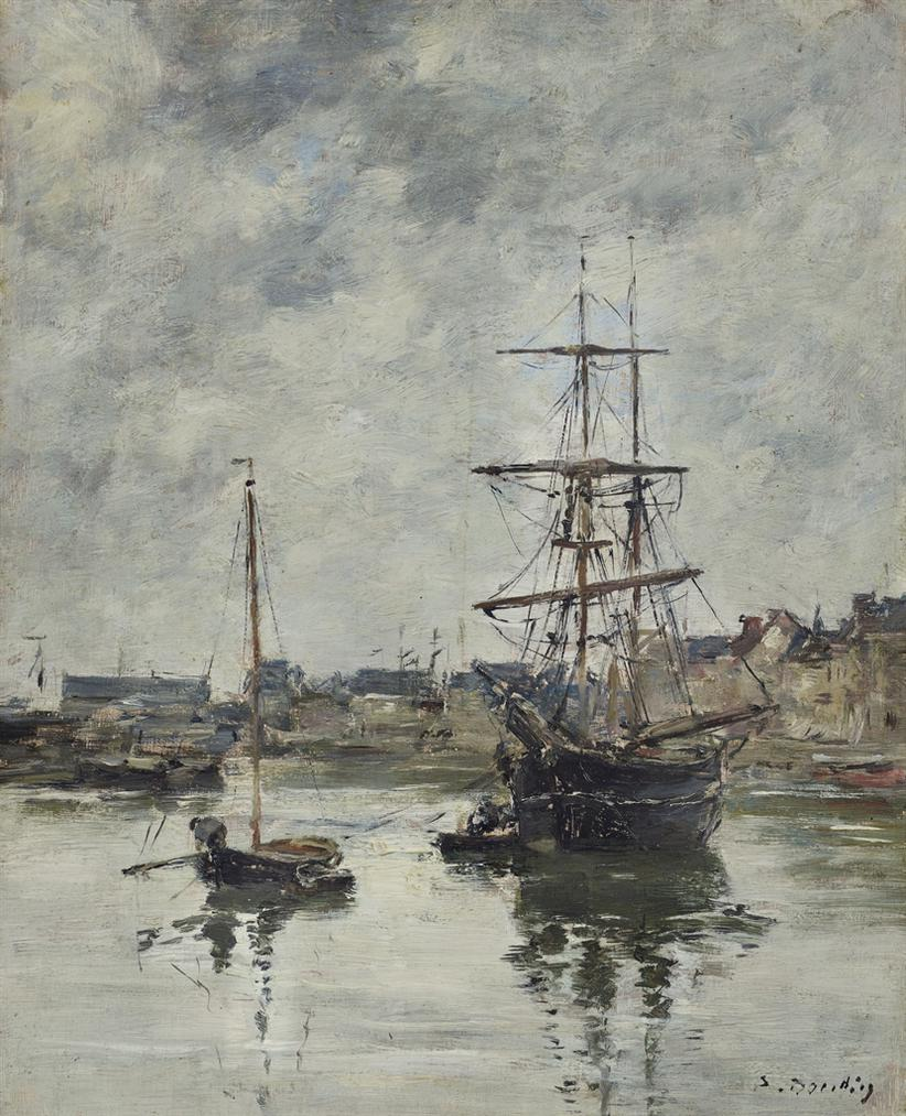 Eugene Louis Boudin-Trouville, Le Port Maree Haute-1890