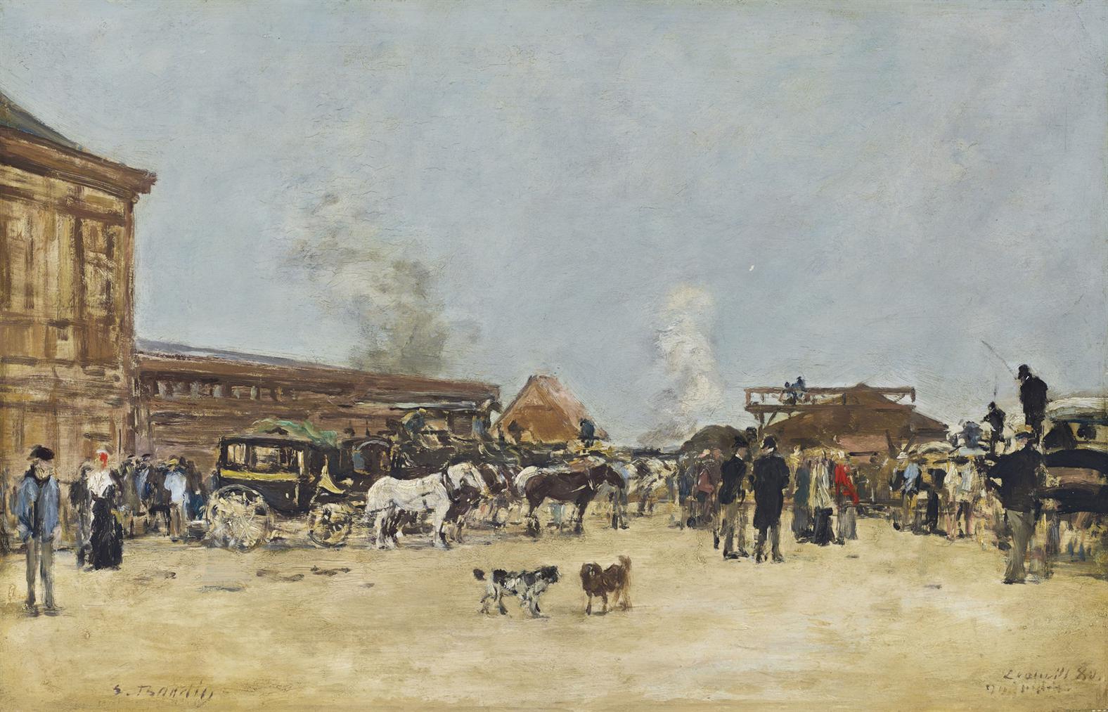 Eugene Louis Boudin-Deauville, La Place De La Gare-1880