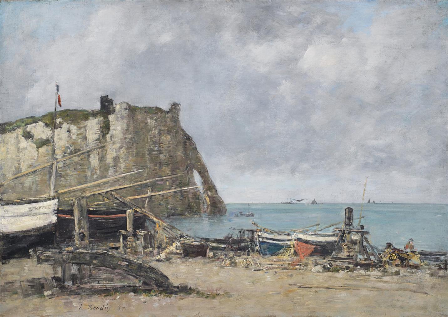 Eugene Louis Boudin-Etretat, La Falaise Daval, Maree Basse-1887