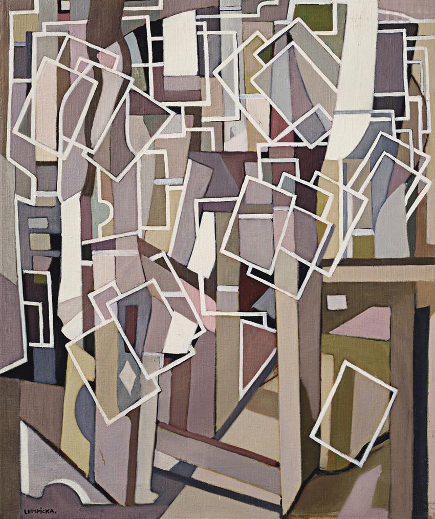 Tamara de Lempicka-Composition Abstraite Aux Rectangles Blancs-1955