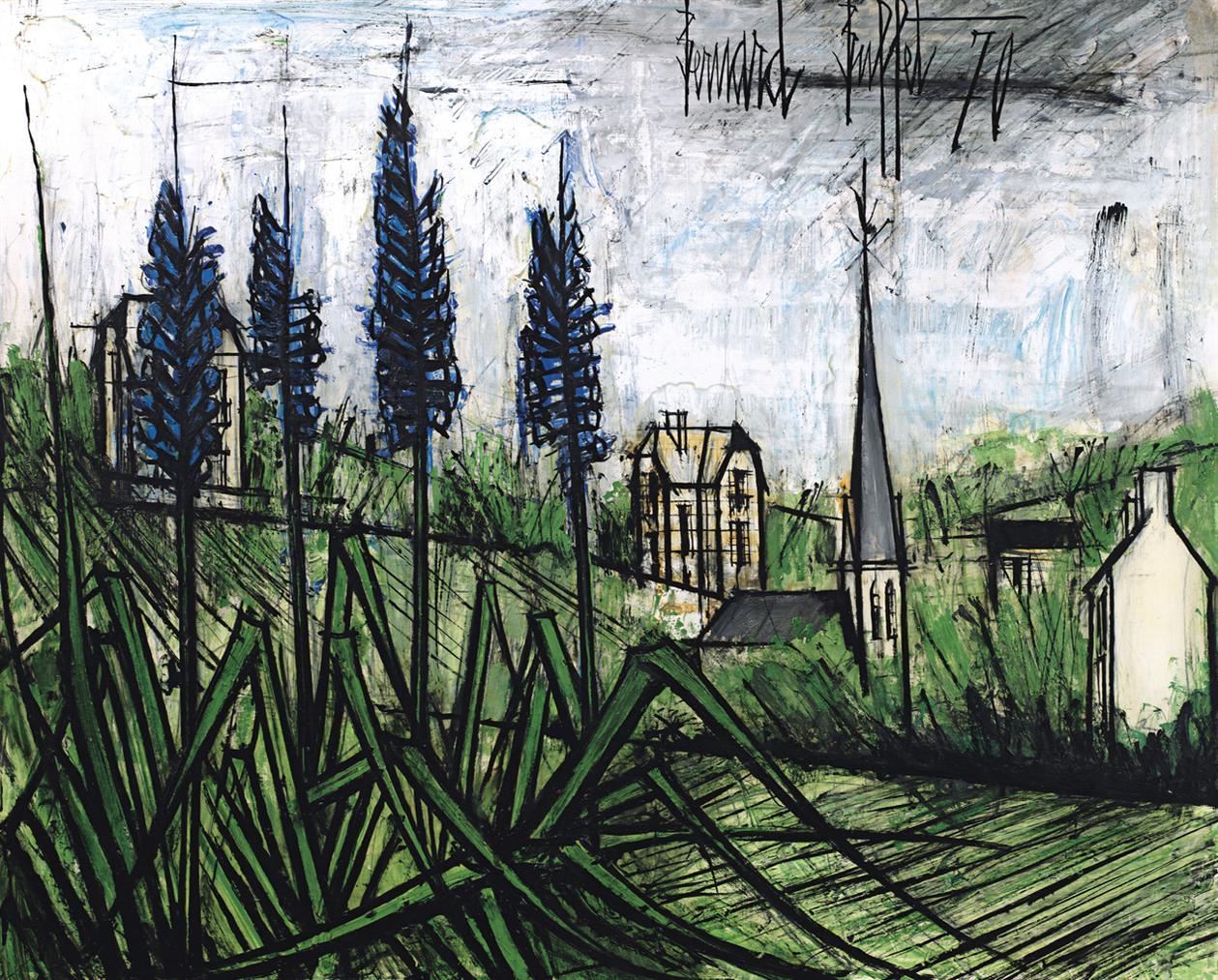 Bernard Buffet-Quatre Delphiniums Bleus Dans Un Paysage-1970