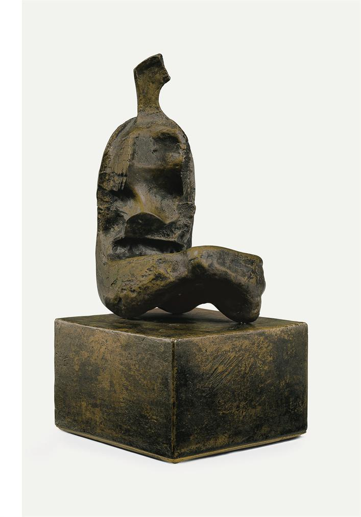 Henry Moore-Maquette For Seated Woman: Thin Neck-1960