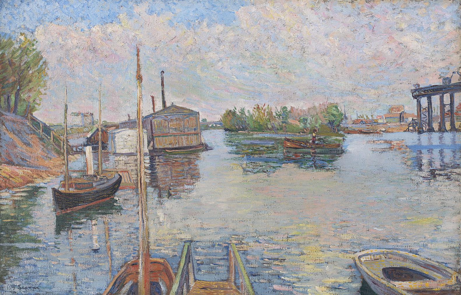 Paul Signac-Bateaux, Ponton Des Bains (Opus No. 96) (Recto); Vue Du Quai De La Tournelle (Verso)-1885