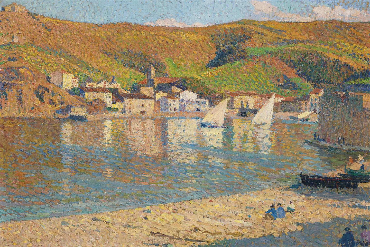 Henri Martin-Les Collines Qui Dominent Le Port De Collioure-