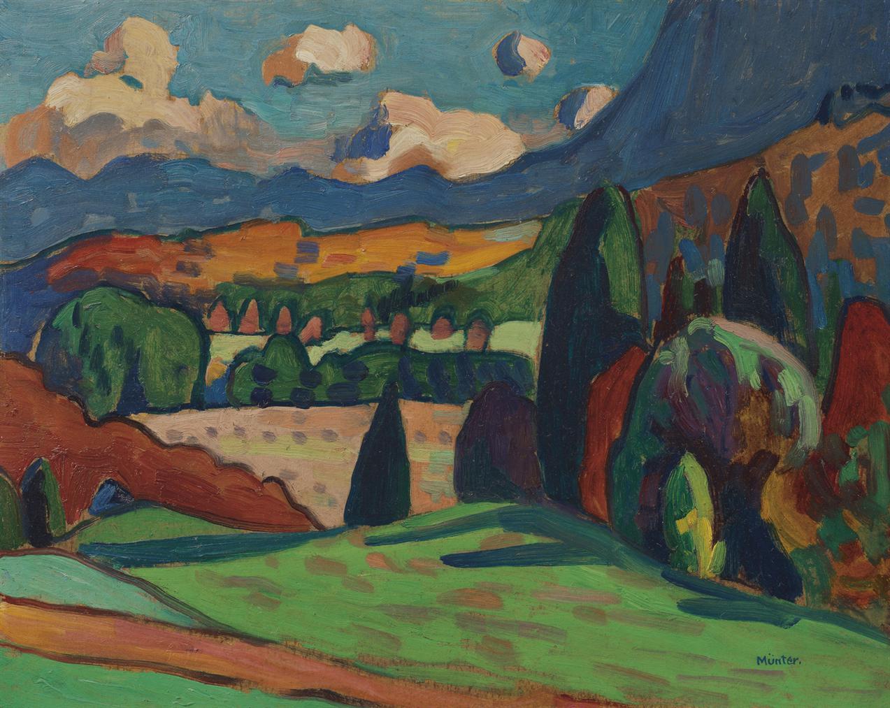 Gabriele Munter-Landschaft Mit Wolken-1908