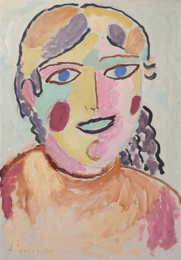 Alexej von Jawlensky-Madchen Mit Blauen Augen Und Dunklem Mund-1916