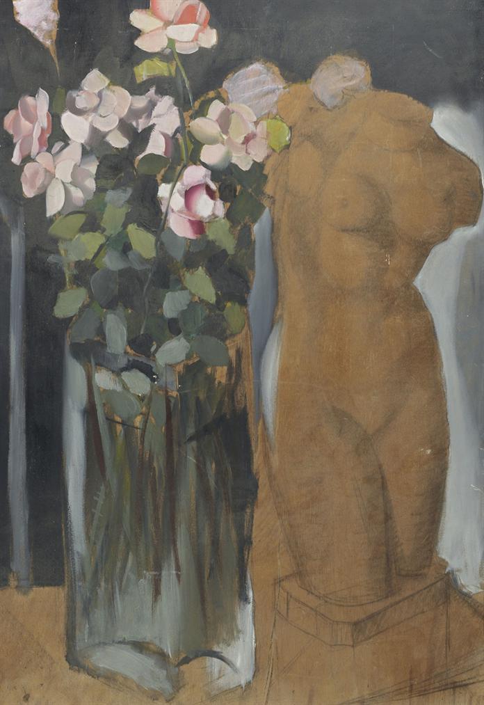 Tamara de Lempicka-Bouquet De Fleurs Et Lesquisse Dune Statue-1949