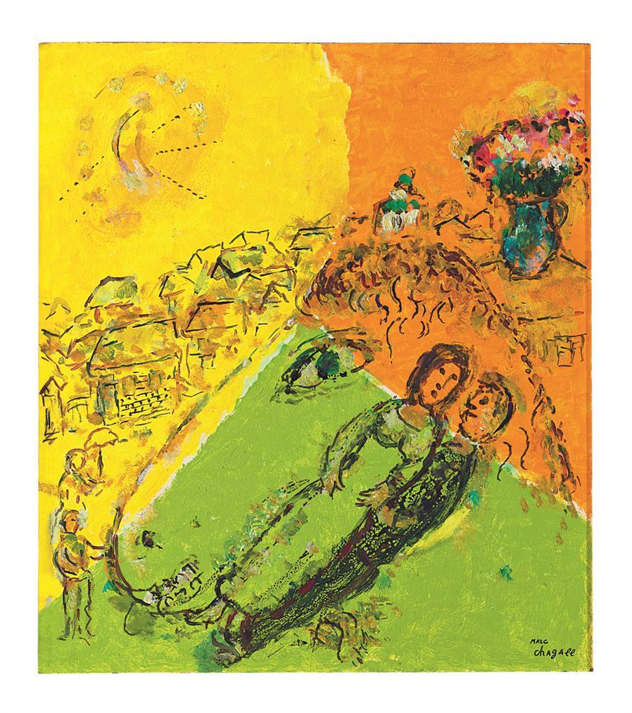 Marc Chagall-Couple Dans Le Profil Dane-1980